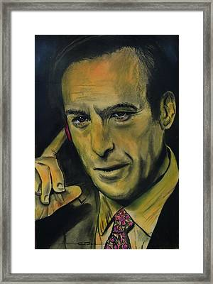Framed Print featuring the drawing Bob Odenkirk - Better Call Saul by Eric Dee