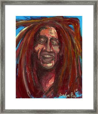 Bob On Blue Framed Print by Jon Griffin