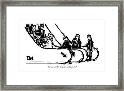 Bob Was Raised In The Wilderness By Salmon Framed Print by Drew Dernavich