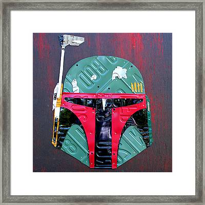Boba Fett Star Wars Bounty Hunter Helmet Recycled License Plate Art Framed Print by Design Turnpike