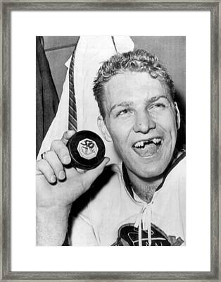 Bobby Hull Scores 50th Goal Framed Print by Underwood Archives