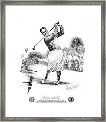 Bobby Jones At Sarasota - Black On White Framed Print by Harry West
