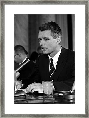 Bobby Kennedy Speaking Before The Senate Framed Print by War Is Hell Store