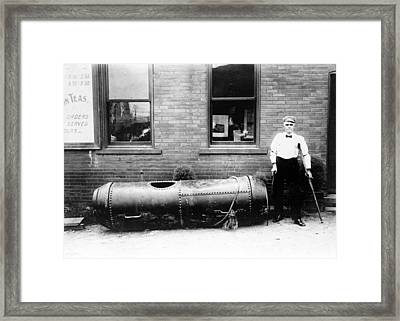 Bobby Leach And His Barrel Framed Print by Granger
