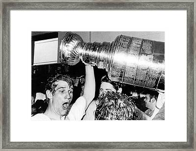 Bobby Orr With Stanley Cup Framed Print by Underwood Archives