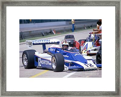 Bobby Unser In The Norton Race Car Framed Print by Martin Sullivan