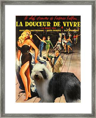 Bobtail -  Old English Sheepdog Art Canvas Print - La Dolce Vita Movie Poster Framed Print