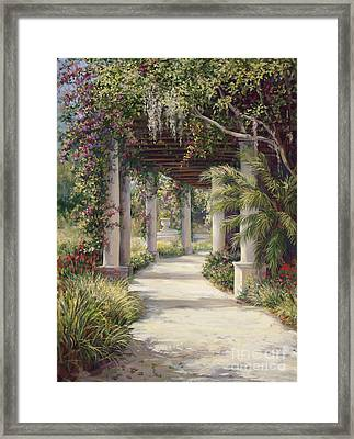 Boca Garden Walkway Framed Print by Laurie Hein