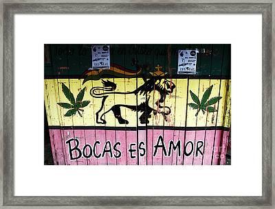 Bocas Es Amor Framed Print by John Rizzuto
