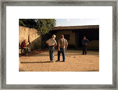 Bocce In Tuscany Framed Print