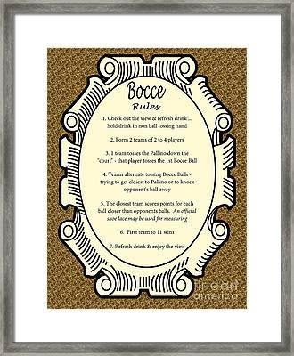 Bocce Framed Print by Nancy Patterson