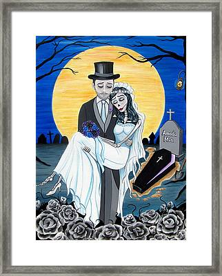 Boda Negra Enterrador Framed Print by Evangelina Portillo