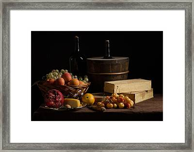 Bodegon With Boxes-cooler-basquet Of Fuits-cheese And Yellow Cherries Framed Print
