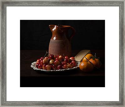 Bodegon With Cherries-oranges And Cheese Framed Print by Levin Rodriguez