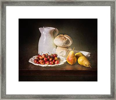 Bodegon With Cherries-pears-white Jar Framed Print by Levin Rodriguez