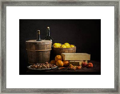 Bodegon With Cooler-jalea Boxes-oranges And Nuts Framed Print