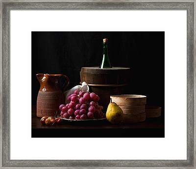 Bodegon With Grapes-pear And Boxes Framed Print by Levin Rodriguez
