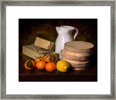 Bodegon With Jalea Boxes - Citrus And Jar Framed Print by Levin Rodriguez