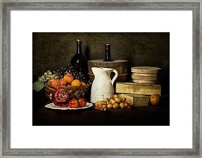 Bodegon With White Jug-pommegranate-jalea Boxes And Cooler Framed Print by Levin Rodriguez