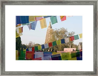 Bodh Gaya Temple With Prayer Flags Framed Print by Peter Adams