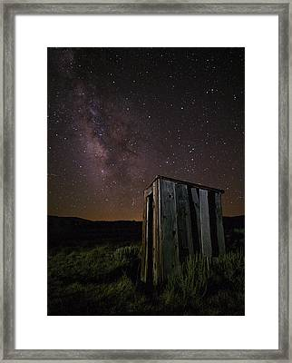 Bodie California Outhouse And Milky Way Framed Print
