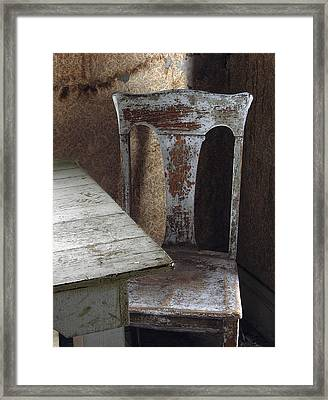 Bodie Chair And Table Framed Print by David Marr