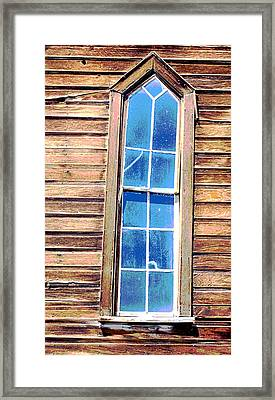 Framed Print featuring the photograph Bodie Church Window by Mary Bedy