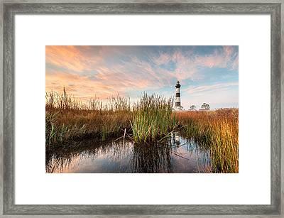 Bodie Island Lighthouse Coastal Marsh Reflections Framed Print by Mark VanDyke