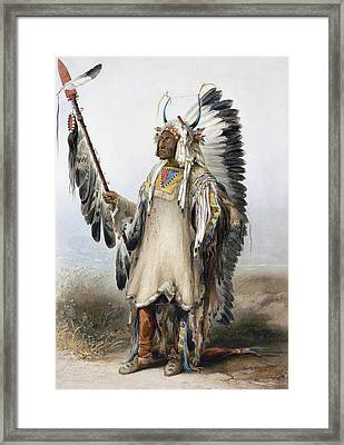 Bodmer Mandan Chief Framed Print by Granger