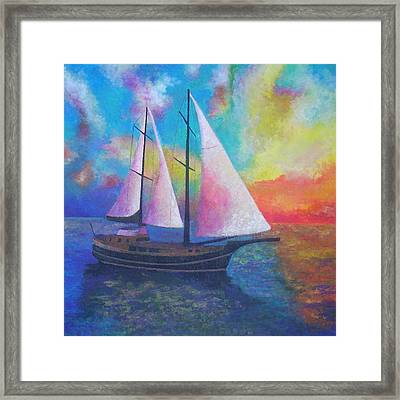 Framed Print featuring the painting Bodrum Gulet Cruise by Tracey Harrington-Simpson