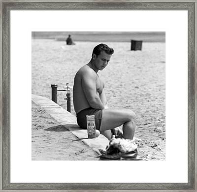Body Builder At The Beach. Framed Print