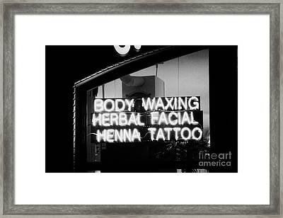 Body Waxing Herbal Facial Henna And Tattoo Pink Neon Signs In A Shop Window New York City Framed Print