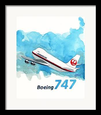 Boeing 747 Paintings Framed Prints