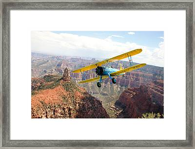 Boeing Stearman At Mount Hayden Grand Canyon Framed Print by Gary Eason