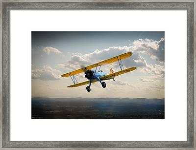 Boeing Stearman Trainer In Flight  Framed Print by Gary Eason