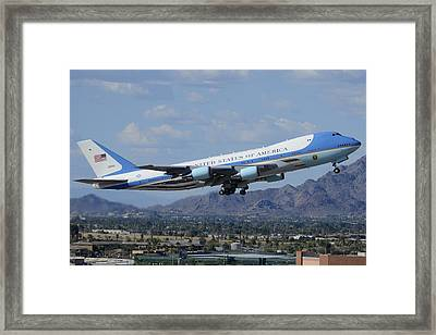 Air Force One Boeing Vc-25a 92-9000 Taking Off Phoenix Sky Harbor March 13 2015 Framed Print by Brian Lockett