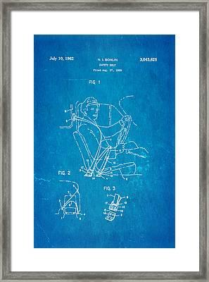 Bohlin Seatbelt Patent Art 1962 Blueprint Framed Print