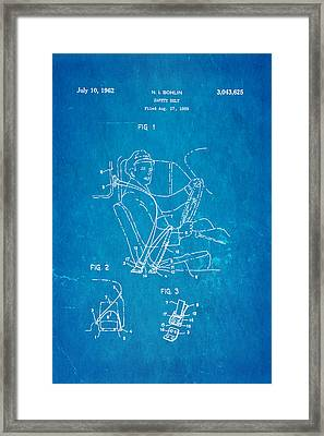 Bohlin Seatbelt Patent Art 1962 Blueprint Framed Print by Ian Monk
