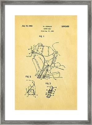 Bohlin Seatbelt Patent Art 1962 Framed Print by Ian Monk