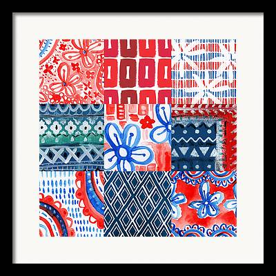 Red And White Quilt Framed Prints