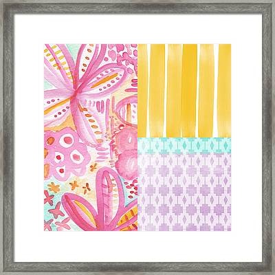 Boho Aztec Patchwork- Flower Painting Framed Print by Linda Woods