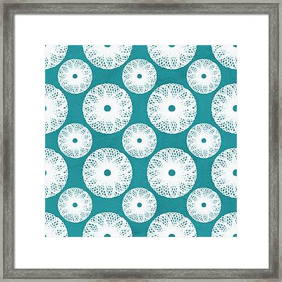 Boho Floral Blue And White Framed Print by Linda Woods
