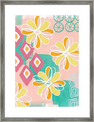 Boho Floral Garden Framed Print by Linda Woods