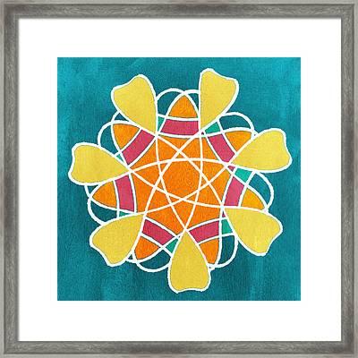 Boho Floral Mandala Framed Print