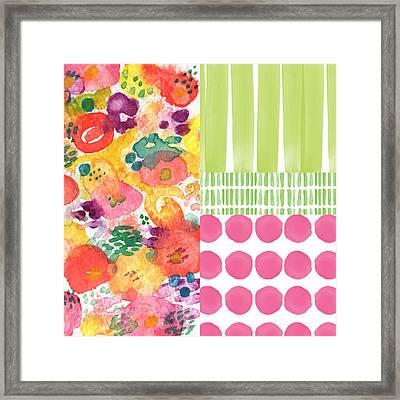 Boho Garden Patchwork- Floral Painting Framed Print by Linda Woods