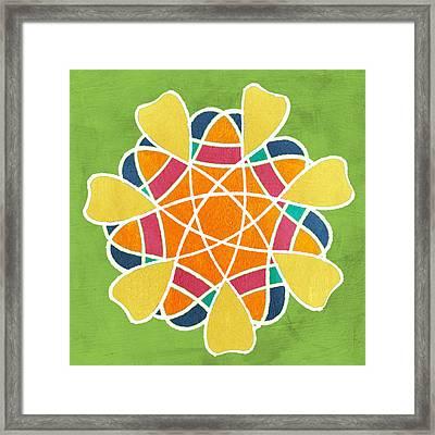 Boho Mandala On Green Framed Print by Linda Woods
