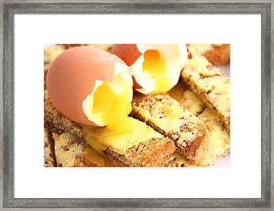 Boiled Eggs On Buttered Toast  Framed Print