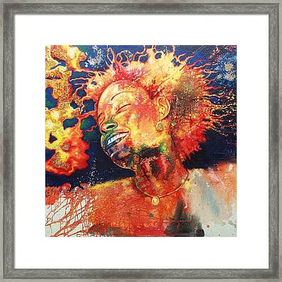 Boiling Flames Of Joy Framed Print by Godwin Arikpo