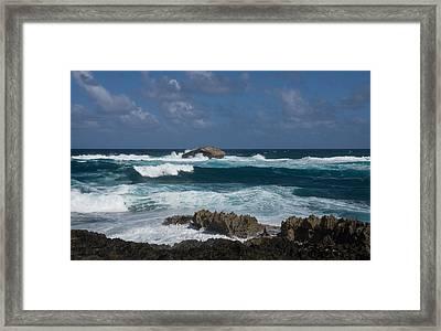 Boiling The Ocean At Laie Point - North Shore - Oahu - Hawaii Framed Print by Georgia Mizuleva