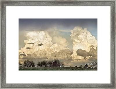 Boiling Thunderstorm Clouds And The Little House On The Prairie Framed Print by James BO  Insogna